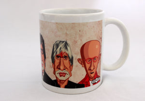 Amitabh Bachchan Caricature Art Mug by Prasad Bhat. The Mug Shows another angle of the avatars on the artwork