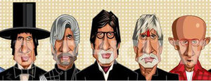 Full frontal view of Amitabh Bachchan Caricature Art by Prasad Bhat.