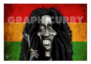 Bob Marley Poster Art by Prasad Bhat. Image shows Marley smiling away with his favorite substance of choice against the famous tricolor band of red, yellow and green.