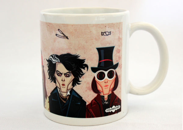 Charlie and the Chocolate factory, Johnny Depp Avatar on Coffee Mug, caricature art in vector style by Prasad Bhat, Graphicurry
