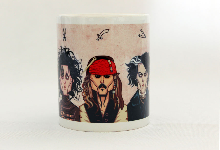 Sweeny Todd , Johnny Depp Avatars on Coffee Mug, caricature art in vector style by Prasad Bhat, Graphicurry