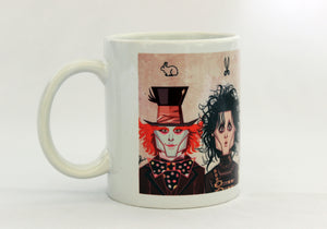 Mad Hatter Johnny Depp Avatar on Coffee Mug, caricature art in vector style by Prasad Bhat, Graphicurry