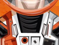 Matt Damon in his Caricature Art Form by Prasad Bhat. Image shows zoomed in close up of his astronaut's suit.