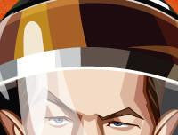 Matt Damon in his Caricature Art Form by Prasad Bhat. Image shows zoomed in close up of his deep eyes through the astronaut's helmet.