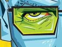 Zoomed in close up of Breaking Bad Artwork showing the subject's spectacle and staring eye. Vector Style Caricature by artist Prasad Bhat.