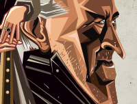 Caricature Art of GOT by Prasad Bhat . Image showing zoomed in face of Tywin Lannister.