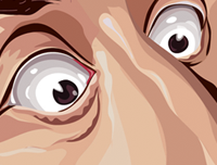 Zoomed in Seinfeld Tribute Art Poster by Prasad Bhat in Vector Caricature Illustrative Style. This image shows details of Cramer's eyes.