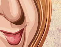 Zoomed in image of the details of Rachel's lips in caricature art by Prasad Bhat