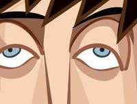Zoomed in Big Bang Theory Tribute Art Poster by Prasad Bhat in Vector Caricature Illustrative Style. This image shows the strokes used to create droopy eyes of one of the characters.