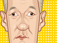 Caricature Art poster of Who's Line is it anyway? by Prasad Bhat. Image shows the zoomed in close up Colin Mochrie
