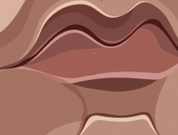 Pulp Fiction art by Prasad Bhat. Caricature Vector illustrative style shows zoomed in details of Vincent's lips