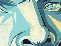 Zoomed in Sherlock Tribute Art Poster by Prasad Bhat in Vector Caricature Illustrative Style. This image shows the details of Sherlock's stern eyes.
