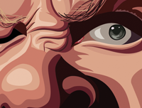 Metallica Caricature Art tribute by Prasad Bhat . Zoomed in close up of the band member's eye.