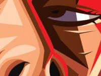 Zoomed in Django Tribute Art Poster by Prasad Bhat in Vector Caricature Illustrative Style. This image shows Leonardo's sleek eye.