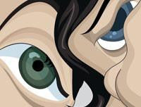 Beatles Poster Details of Eyes in Vector Caricature Artwork by Prasad Bhat, Graphicurry