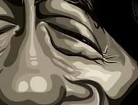 Bob Marley Poster Art by Prasad Bhat. Image shows zoomed in detail of his shut eyes.