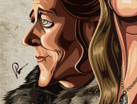 Caricature Art of GOT by Prasad Bhat . Image showing zoomed in face of Lady stark.
