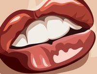 Zoomed in close up of Marilyn Monroe's luscious lips. Caricature art by Prasad Bhat.