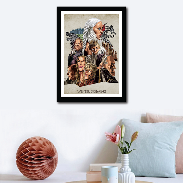 Framed Game of Thrones Poster on wall decor. Caricature Art by Prasad Bhat showcasing all the lead characters in a detailed composition.