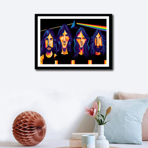 Framed Poster of Pink Floyd on a wall decor. Caricature art by Prasad Bhat. Image shows the four band members looking straight ahead in a black prismatic backdrop with psychedelic colors.