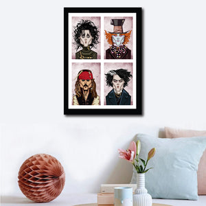 Wall Decor Visual of Framed Poster showing Johnny Depp in his eccentric characters in 'Alice In The Wonderland', 'Edward Scissor Hands', 'Sweeney Todd', 'Pirates Of The Caribbean' and 'Charlie And The Chocolate Factory'. Art by Prasad Bhat