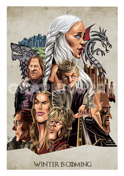 Game of Thrones Poster. Caricature Art by Prasad Bhat showcasing all the lead characters in a detailed composition.