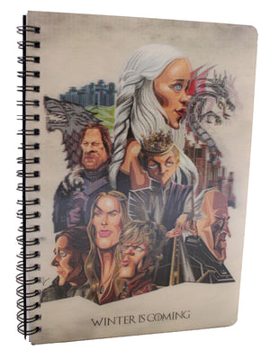 Game of Thrones tribute art in 3D print wiro bound diary by Graphicurry, art by Prasad Bhat.