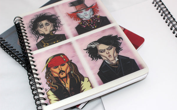 Johnny Depp Avatars in 3D on diary. Lenticular art in vector style by Prasad Bhat, Graphicurry