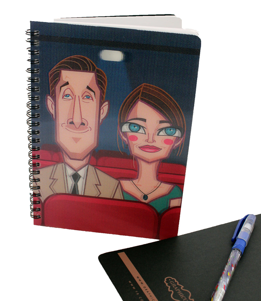 Beautiful 3D lenticular print of La La Land on Wiro Bound Diary from Graphicurry. Exclusive artwork by Prasad Bhat showing both the main characters in a 3d Illustration.