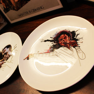 Michael Jackson Ceramic Decor Plate by artist Prasad Bhat decorated on a surface.