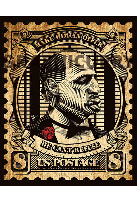 The Godfather Stamp Wall Art by Graphicurry