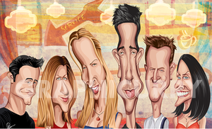 Full Portrait of Friends Caricature Wall Art by artist Prasad Bhat from Graphicurry