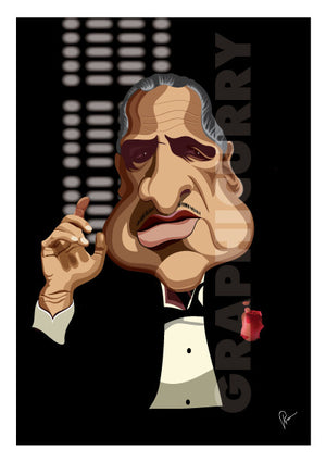 Godfather Poster, Caricature Art by Prasad Bhat showing Don Corleone sitting in his iconic pose with a red pocket rose, his one hand held up and against a black backdrop.