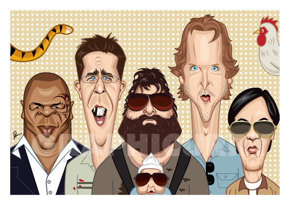 Framed Hangover Movie Poster. Fan art of Hangover by Prasad Bhat, a blend of hilarious and sinister comedy Starring Phil (Bradley), Stu (Ed), Doug (Justin), Alan (Zach) and The Chinese Guy. Image shows them looking straight ahead being their own peculiar goofy selves.