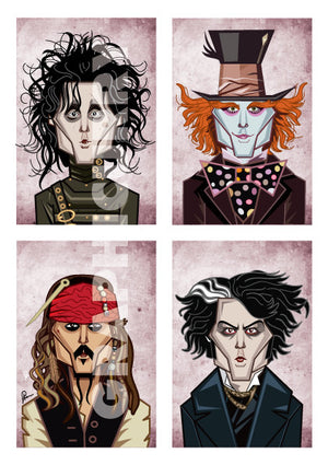 Poster showing Johnny Depp in his eccentric characters in 'Alice In The Wonderland', 'Edward Scissor Hands', 'Sweeney Todd', 'Pirates Of The Caribbean' and 'Charlie And The Chocolate Factory'. Art by Prasad Bhat