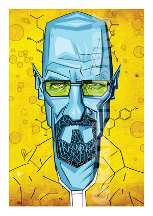 Vibrant Yellow and Blues make this Breaking Bad Artwork stand out. Vector Style Caricature by artist Prasad Bhat. Poster with a 1 inch margin