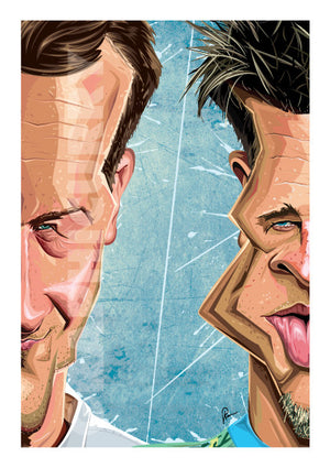 Poster of Fight Club in caricature art by Prasad Bhat. Image shows half the face of both Brad Pitt and Edward Norton, in line with the core theme of the movie.