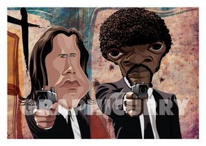 Poster of Pulp Fiction art by Prasad Bhat. Caricature Vector illustrative style shows Jules and Vincent pointing their guns out from the legendary scene from the movie.