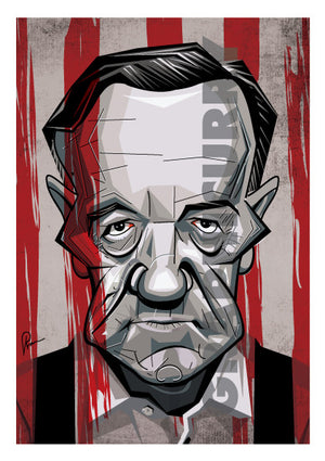 Frank Underwood Poster portrayed by Kevin Spacey. Caricature Art Tribute by Prasad Bhat. Image shows him staring right on with his grim eyes and a bloody backdrop.