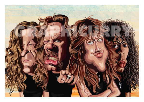 Art Poster of the four members of Metallica Band. Caricature Art tribute by Prasad Bhat showing the four members standing in a group looking brutal with their open hair and eccentric expressions.