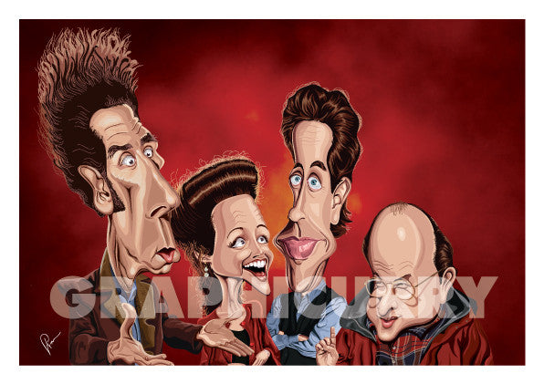 Framed visual of Seinfeld Tribute art by Prasad Bhat. Caricature Vector illustrative style showing all the four leads of the show.