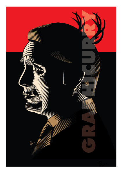 Framed Poster of Hannibal. Caricature Vector art by Prasad Bhat as a tribute to thrilling television series.  The image shows the lead actor in his side profile against a predominantly red and black background.