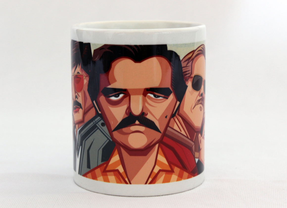 Narcos Coffee Mug. Caricature Art Mug by Prasad Bhat, Graphicurry