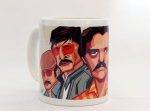 Side View of Narcos Coffee Mug. Caricature Art Mug by Prasad Bhat, Graphicurry