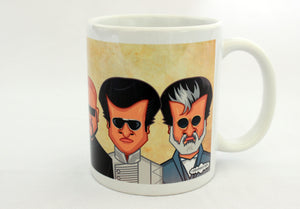 Rajinikanth Coffee Mug with caricature art tribute by Prasad Bhat.