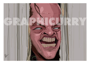 "Caricature Art Poster of famous scene from movie ""Shining"" . Jack Nicholson popping his head out of the axed door creepily saying ""Here's Johnny"""