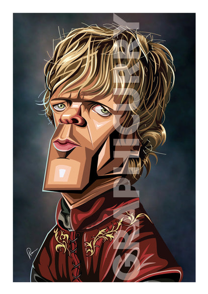 Poster of TV Character Tyrion in caricature tribute art by Prasad Bhat. Image shows him standing sideways and looking to the front. He is in his royal attire and with his golden hair looking grim.