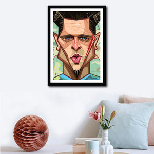 Wall decor with framed Caricature Art of Brad Pitt by artist Prasad Bhat with him staring to the front with his deep eyes. He has scar on his face that is bleeding. With subtle elements on the background and a blue tee, this piece is mesmerizing.