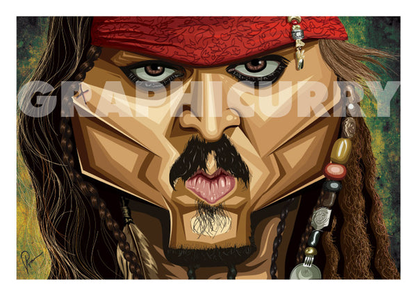 The Pirate Poster with one inch white margin for framing. Vector Caricature Illustration by Prasad Bhat