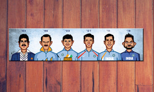 Laminate of Caricature tribute by artist Prasad Bhat to World Cup Cricket Captains